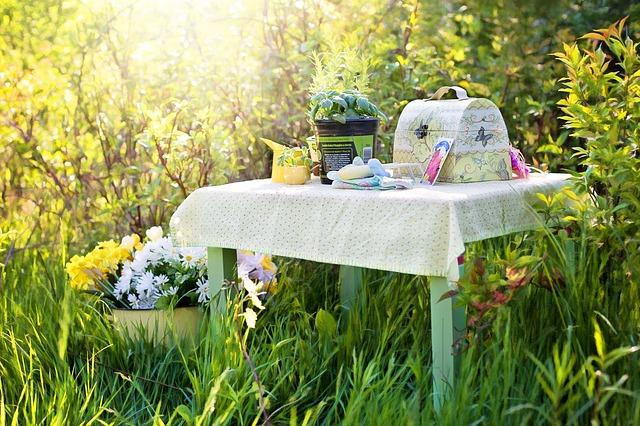 stolek v zahradě