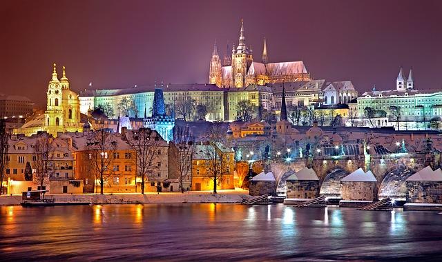 zimní noc v Praze